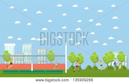 People playing tennis and badminton in a park. Vector sport banners. Professional tennis players on the tennis court.