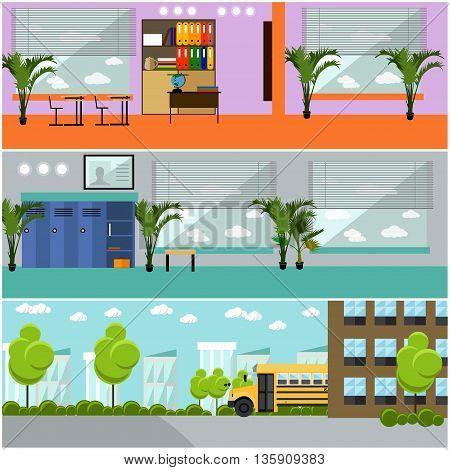 Vector set of school concept banners. School interior, classroom, school yard, building and school bus.