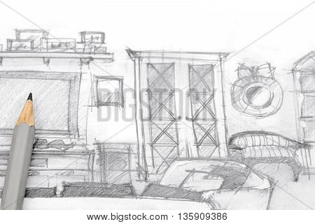 Architectural Sketch Of Modern Entertainment Wall With Pencil