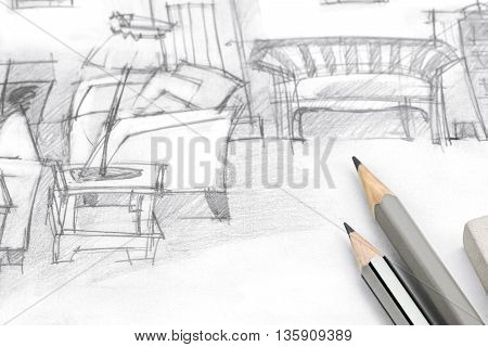 Freehand Drawing Of Living Room With Pencils On Paper