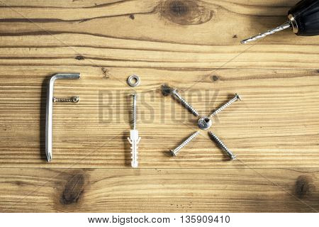 Selection of DIY materials to represent the word Fix
