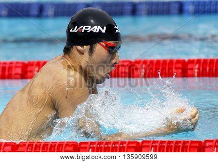 BARCELONA - JUN, 11: Japanese swimmer Kosuke Hagino swimming Breaststroke during the Trophy Ciutat de Barcelona in Sant Andreu Club, June 11, 2016 in Barcelona, Spain