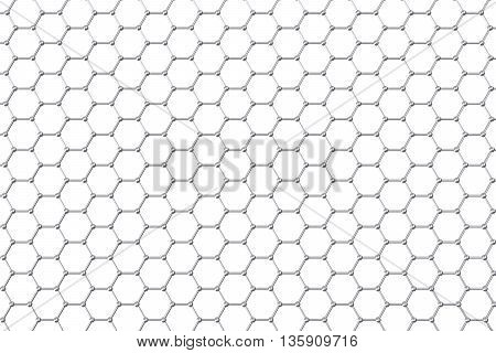 Graphene atomic structure, nanotechnology background 3d illustration