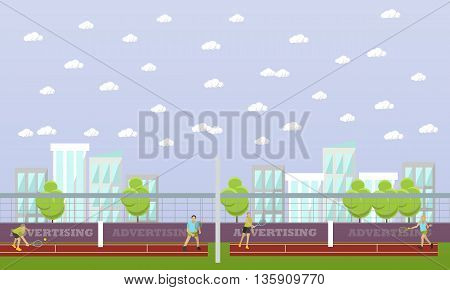 People playing tennis. Vector sport banner. Professional tennis players on the tennis court.