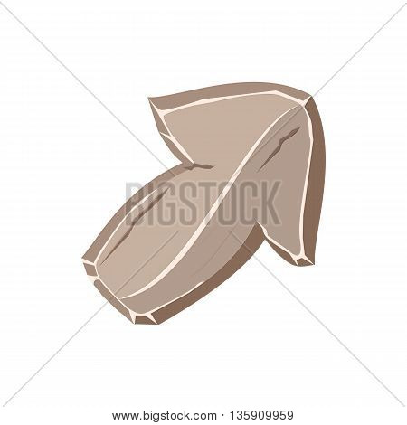Cartoon stone arrow, stone button in gray color. arrow icon isolated on white background