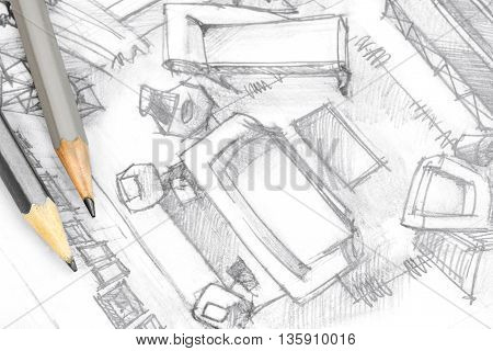 Top View Architectural Drawing Of Living Room With Drawing Tools