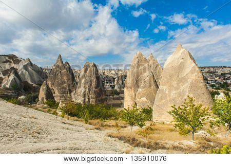 Spectacular teeth-like rock formation near Goreme, Cappadocia, Turkey