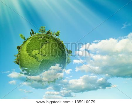 Green planet. Abstract eco backgrounds with blue skies clouds and Earth globe