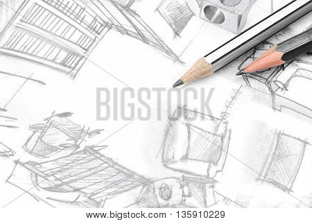 Freehand Drawing Of Modern Living Room With Drawing Tools, Top View