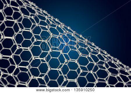 The structure of the graphene tube of nanotechnology 3d illustration