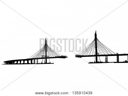 Large modern bridge on a white background
