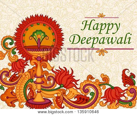 Vector design of Diwali decorated diya in Indian art style