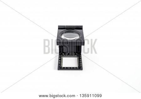 The magnifying glass standing usage for test printing. isolated on white background.