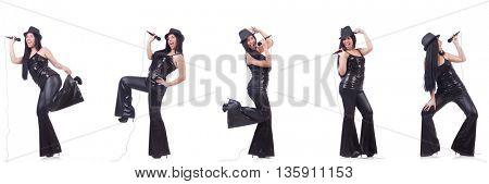Woman singing in karaoke club in various poses on white
