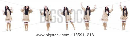 Inuit woman isolated on the white