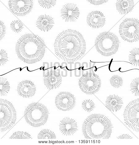 Greeting in Hindi. Ink illustration. Modern brush calligraphy. Isolated on white background. Black and white pattern.