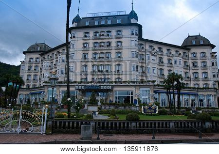 30 may 2016-stresa-italy-view of the exterior facade of Hotel Astoria