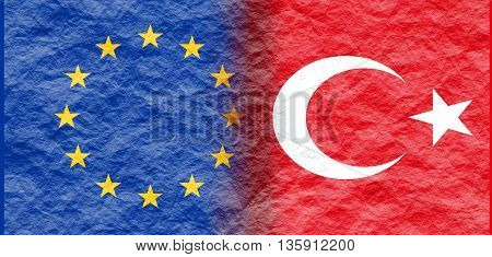 Image relative to politic relationships between European Union and Turkey. National flags textured by crumpled paper