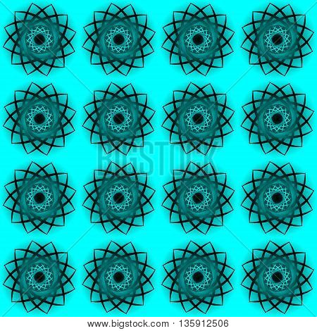 Texture for curtains. Black openwork flowers on a blue background
