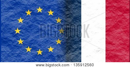 Image relative to politic relationships between European Union and France. National flags textured by crumpled paper