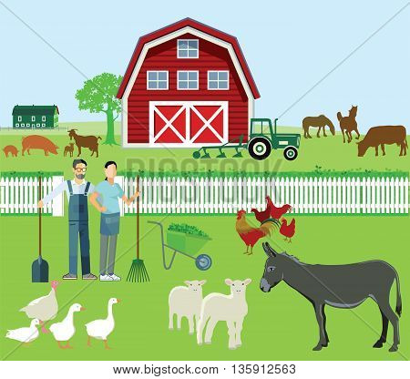 Farmer and Agriculture with animals, pork, turkey, lamb, sheep, donkey, chicken