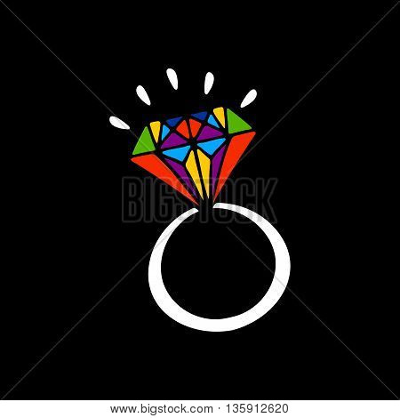 Hand drawn ring on black background. Rainbow colors brilliant ring. Decorative element for wedding invitation.