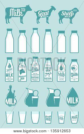 Milk Bottles, Glasses, Icons And Design Elements