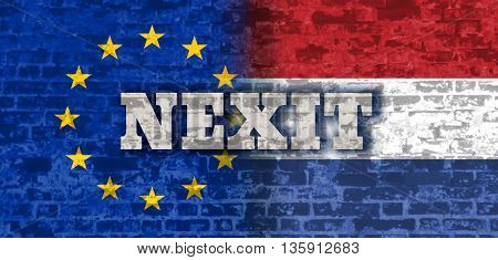 Image relative to politic relationships between European Union and Netherlands. National flags textured by brick wall. Nexit text