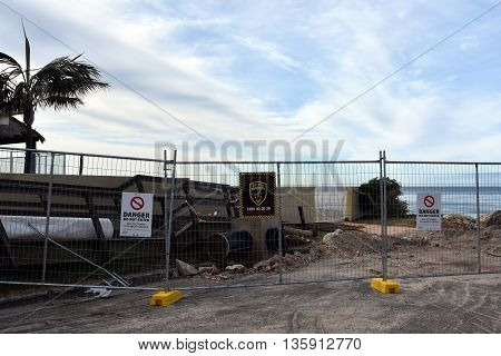 Sydney AUSTRALIA - Jun 26 2016. Collaroy Beach is still closed and