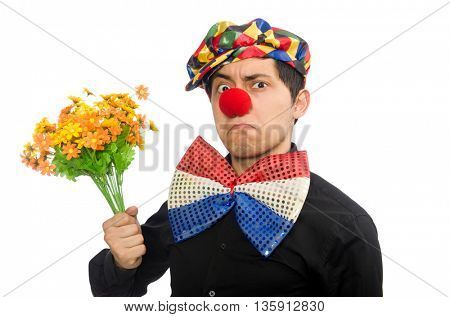 Funny clown with flowers isolated on white