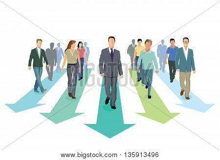 toward progress direction, people  group, statistics, economics symbol