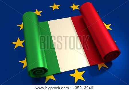 Italy and European Union relationships relative image. Metal material scroll textured by national flag. 3D rendering