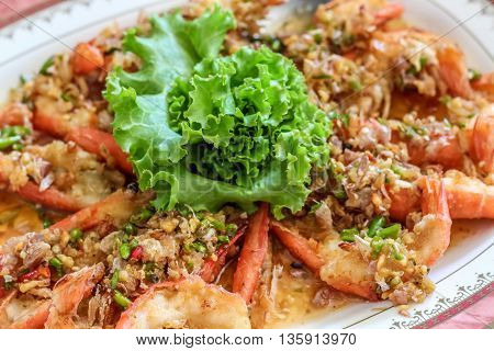 close up top view steamed shrimp/prawn in the white plate ready to eat
