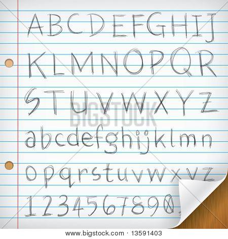 Hand-written Fonts on Single Line Paper