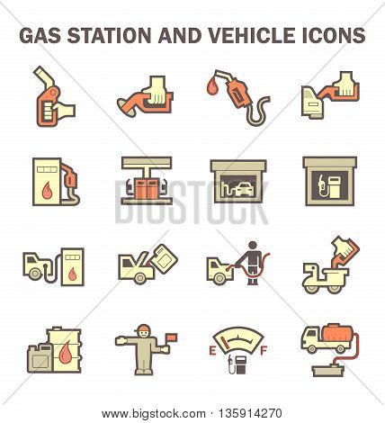 Gas station and services vector icon sets.