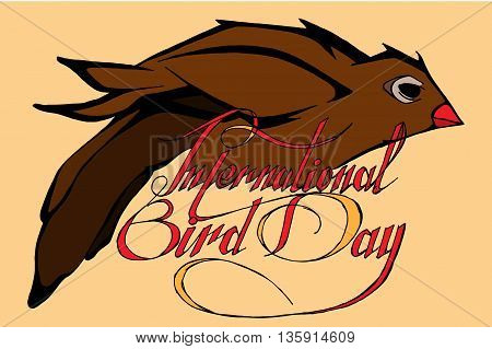 World bird day. Hand drawn vector stock illustration.