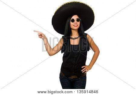 Young mexican woman wearing sombrero isolated on white