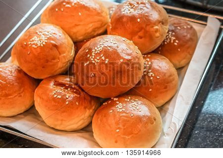close up beautiful Buns in the tray for meal/breakfast