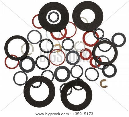 Many round rubber gaskets for sanitary fittings