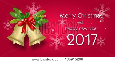 Christmas greeting card to merry christmas and happy new year 2017 with bells decoration