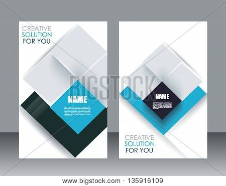 Vector brochure template design with cubes and translucent folds elements.