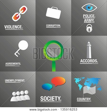 Politics background about society, country and corruption
