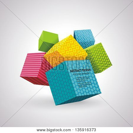 Flying Cubes Colorful Bright Wave Perspective Swoosh Line.