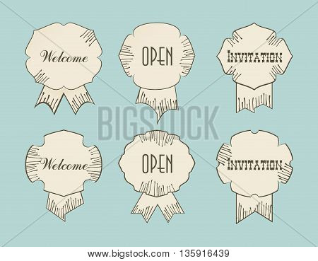 Vintage retro tags with Open Welcom Invitation words typography design drawing signs.