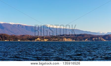 landscape with the sea mountains and sky Abkhazia