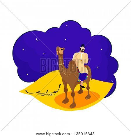 Happy Muslim Man riding camel and watching moon in Eid Mubarak Festival night, Creative vector illustration for Islamic Festival celebration.