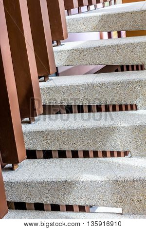 washed gravel stone staircase step up ladder