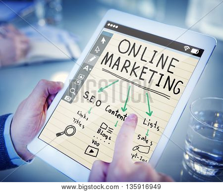 online marketing. a picture with written text. is very beautiful
