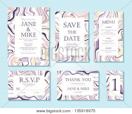 Vector Wedding invitation card suite with ink marble style texture. Hand drawn marbling effect. Background pastel abstraction. Invitation Save the Date rsvp thank you card menu table number.