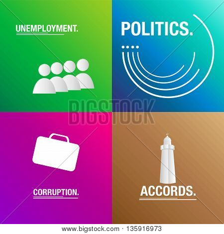 Politics background about corruption, laws and polls for the elections